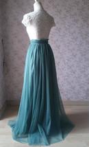 Women Bridesmaid Misty Green Split Tulle Skirt Wedding Maxi Tulle Skirt,US0-US30 image 3