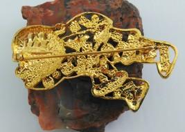 Santa Brooch Gold Tone with Multi-Colored Rhinestones image 6