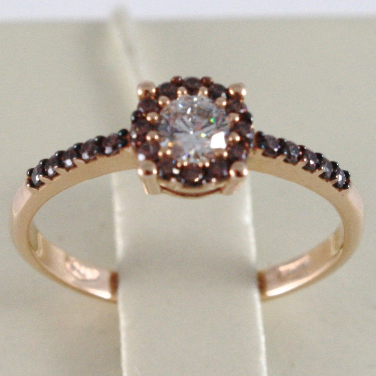 18K ROSE GOLD BAND RING, ETERNITY SOLITAIRE WITH ZIRCONIA, BROWN, MADE IN ITALY