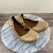 Lucky Brand Erin Metallic Gold Leather Slip On Ballet Flats Womens Size 6 - $34.95