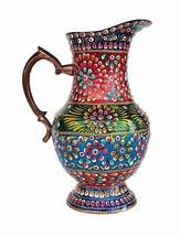 Antique Brass Decorative Water jug Pot Container  Water Juice Hand Paint... - $140.25