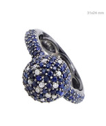 Sapphire Gemstone 925 Sterling Silver Diamond Pave Ring Vintage Inspired Jewelry - $373.07