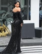 Womens Sexy Off Shoulder Feather Long  Sleeve Sequin Maxi Dress image 3