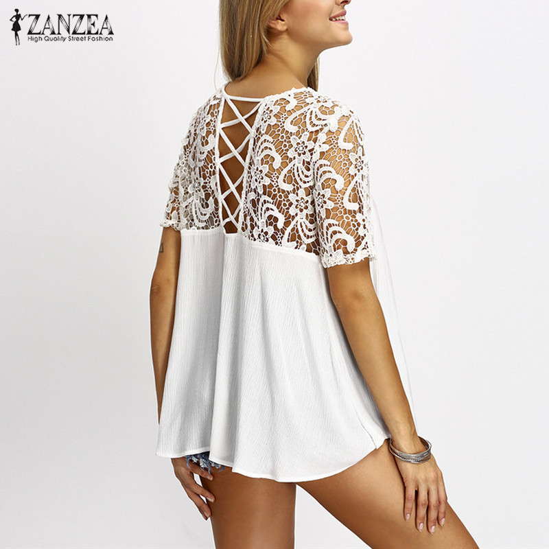 2018 ZANZEA Women Tops Lace Splice Blouses Shirt Elegant O Neck Short Sleeve Hol