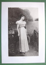 YOUNG MAIDEN River Bank Pensive Reverie - 1893 Victorian Era Antique Print - $39.60