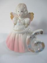 Vintage Birthday Girl Angel Doll Figurine Age 6 Years w Bday Cake Josef Original - $26.72