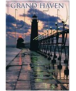 Michigan Postcard Grand Haven Pier Stormy Skies Lake Michigan - $3.79