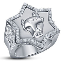 White Gold Plated 925 Silver Round Cut CZ Astrology Taurus Zodiac Sign M... - $145.88