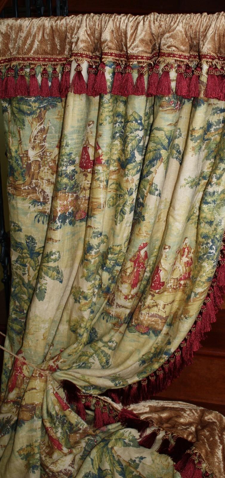 CUSTOM DRAPES PANELS Covington Bosporus Toile Drape Fabric ...