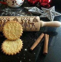 New Christmas Deer Wooden Embossed Rolling Pin, Bake Cookies! image 3