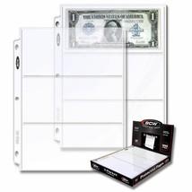 (500) BCW 3-bolsillo Moneda Páginas Talla 3.5 X 8 Papel Dinero Carpeta S... - $66.58