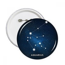 Aquarius Constellation Zodiac Sign Round Pins Badge Button Clothing Deco... - £6.67 GBP