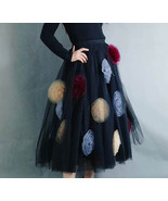Black Midi Tulle Skirt with Flower Handmade Black Ruffle Tutu Midi Skirt... - $95.99+