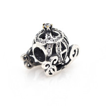S925 Sterling Silver Cinderella's Pumpkin Coach Big Hole Beads,Women Bra... - $17.99