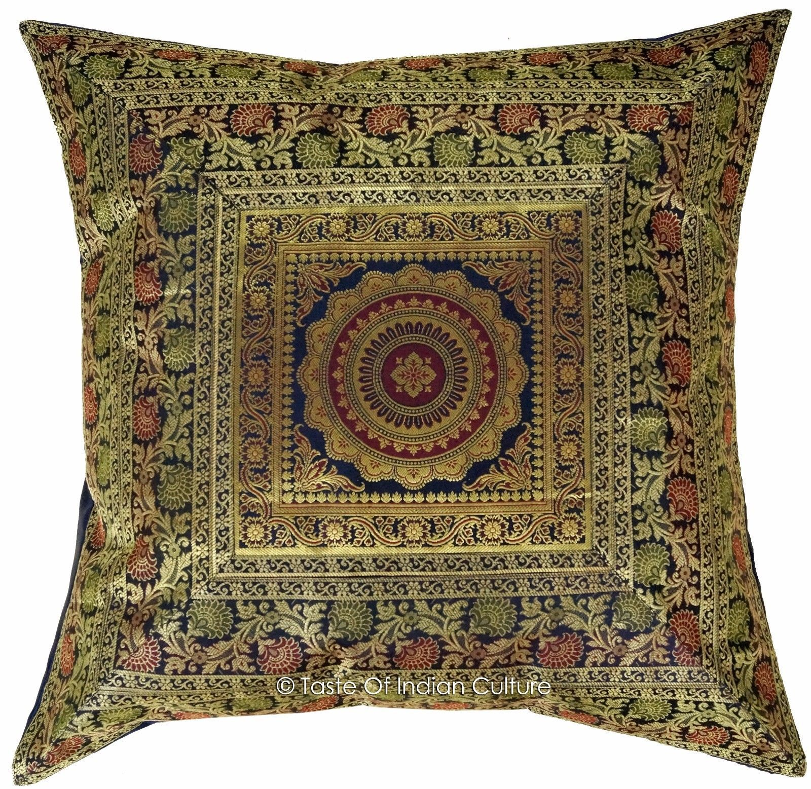 "Primary image for Blue 26"" x 26"" Mandala Euro Sham Pillow Cushion Cover Silk Brocade Throw Indian"