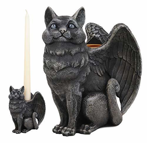 Ebros Gothic Angel Winged Catgoyle Cat Gargoyle Candle Holder Statue Medieval Re - $23.99