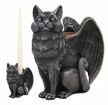 Ebros Gothic Angel Winged Cat Gargoyle Candle Holder Statue Medieval Renaissance - $24.98