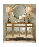 Console 3 Drawers 4 Doors Gold and Mirrored - Powell Company - $699.00