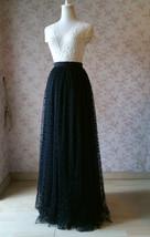 Black Polka Dot Tulle Skirt Black Long Tulle Skirts Outfit Black Maxi Skirt WT28 image 5