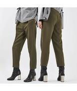 Topshop Olive Grommet Pleated Women's Pants size 4 - 10 - $25.14
