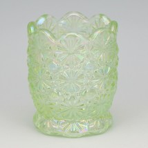 Vintage Glass Toothpick Smith Light Green Carnival Daisy & Button with S Logo