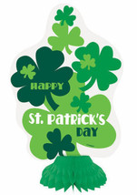 Happy St. Patrick's Day 3 Ct Honeycomb Decorations Clover Shamrock - $6.99
