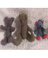 plush VINTAGE BEARS 2 HAND MADE -WOOL-CHECKED-PIER 1 IMPORT NEW-1 SIGNED... - $9.89