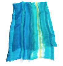 RALPH LAUREN Blue Green Stripe Gauze Kimberly Fringe Wrap Scarf - $29.35