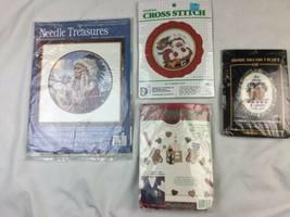 Lot Of 3 Misc Cross Stitch Kits Dimensions Paragon Xmas Treasures & Appliques - $14.01