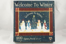 """Welcome To Winter At Apple Cider Creek 1000 Piece Puzzle 20""""x27"""" Snowman... - $14.03"""