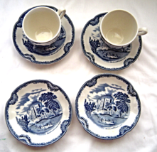Johnson Brothers Old British Castles Blue 2 Cups and 4 Saucers - $19.99