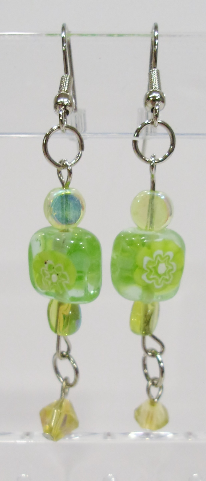 handmade green flower bead and crystal drop earrings