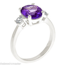 AMETHYST & DIAMOND ENGAGEMENT RING 3-STONE OVAL SHAPE WHITE GOLD 2.73 CARAT - €1.015,29 EUR