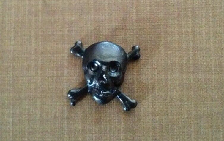 Antiqued Black Metal Skull and Crossbones Tie Pin/Tack by A Novel Idea