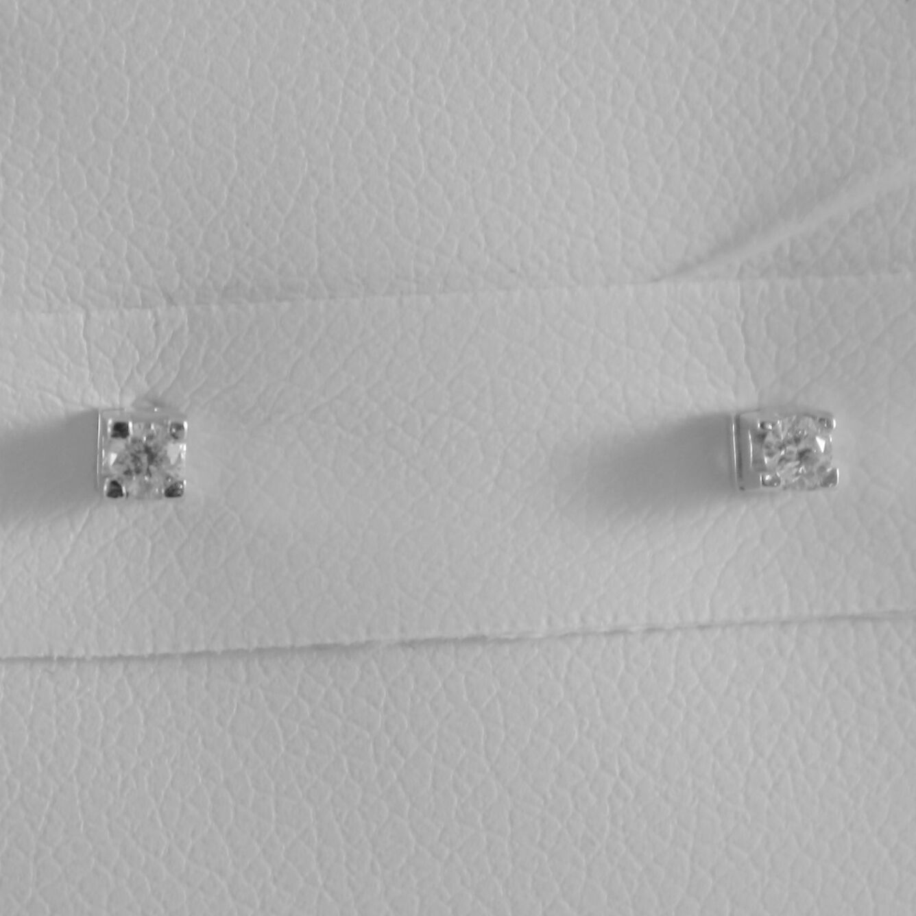 18K WHITE GOLD MINI SQUARE EARRINGS DIAMOND DIAMONDS 0.08 CT, MADE IN ITALY