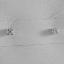 18K WHITE GOLD MINI SQUARE EARRINGS DIAMOND DIAMONDS 0.08 CT, MADE IN ITALY  image 1