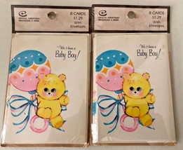 Vintage Lot 2 packs CRYSTAL GREETINGS BABY BOY Announcement Cards Envelopes - $16.78