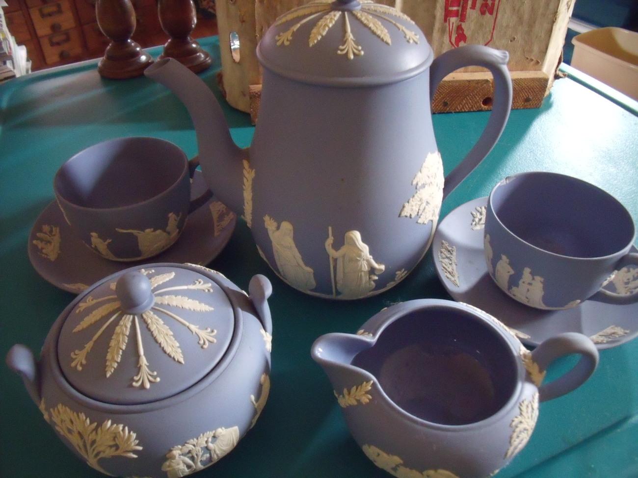 Wedgewood Jasper Classic White on Light Blue 9 pc Tea Set circa 1960's