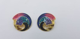 Vintage Gold Tone Multi Color Hand Painted Wave Design Pierced Earrings EUC - $14.47