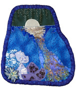 Once . . . : Quilted Art Wall Hanging in blues - $395.00