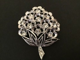 Vintage Sarah Coventry Clear Rhinestone Bouquet Brooch - $14.80
