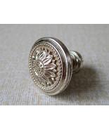 Dresser Knob Drawer Knobs Pulls Handles Antique Silver Sun Flower Cabine... - $3.50
