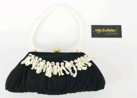 "Inge Christopher Black Cloth Clutch Shells & Pearls  9.5"" x 4""   - $28.49"