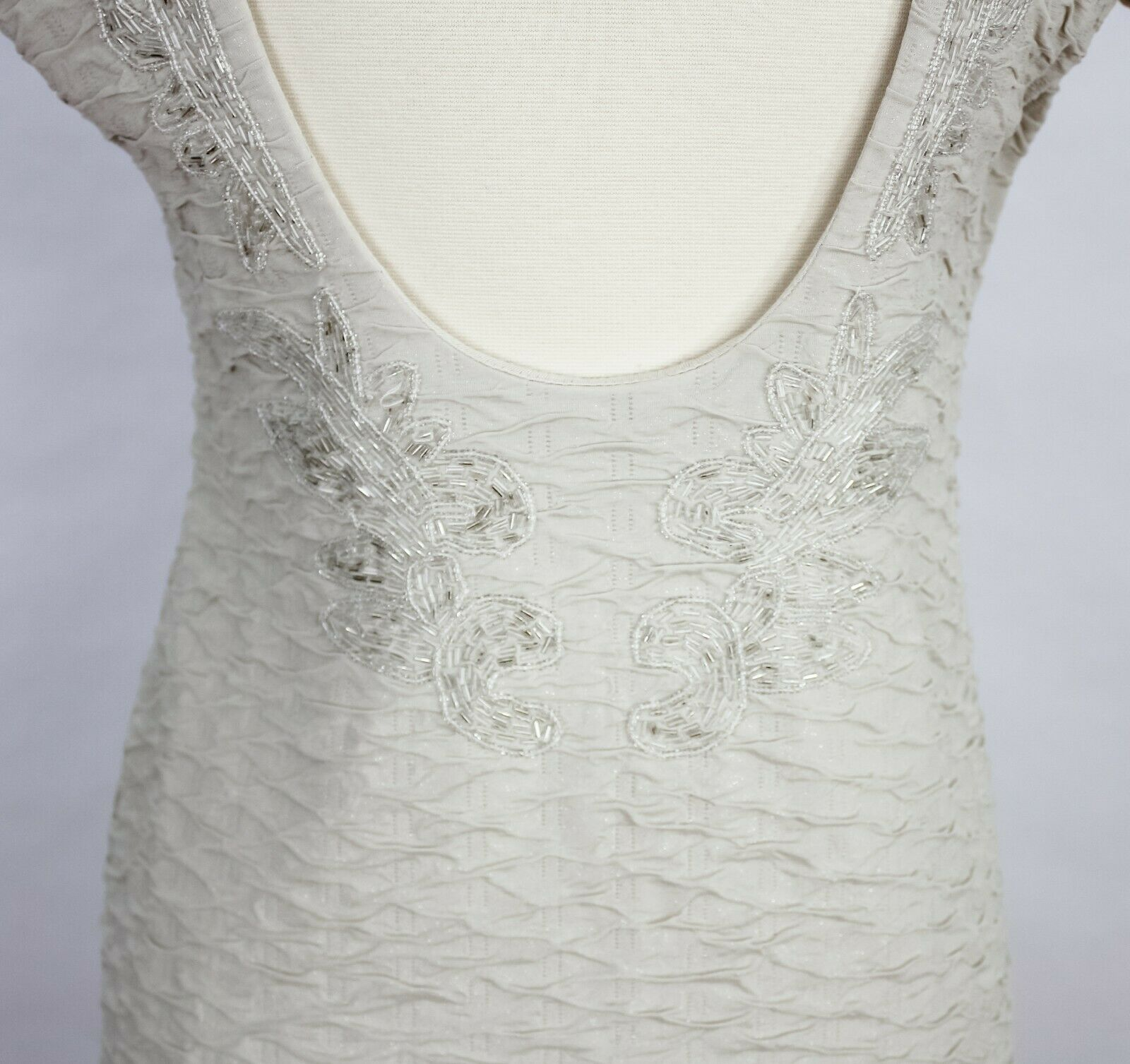Free People Beaded Bodycon Tan Fit Dress With Beaded Detail Scoop Back Ruched M