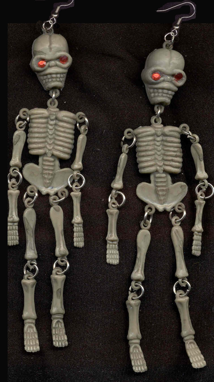 Primary image for SKELETON EARRINGS-Jointed Pirate Funky Gothic Jewelry-HUGE-GRAY