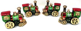 Vintage Lot of 4 Blown Glass Train Christmas Ornament New with Tags - $53.99