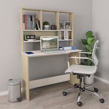 "Desk with Shelves White and Sonoma Oak 43.3""x17.7""x61.8"" Chipboard - $211.00"