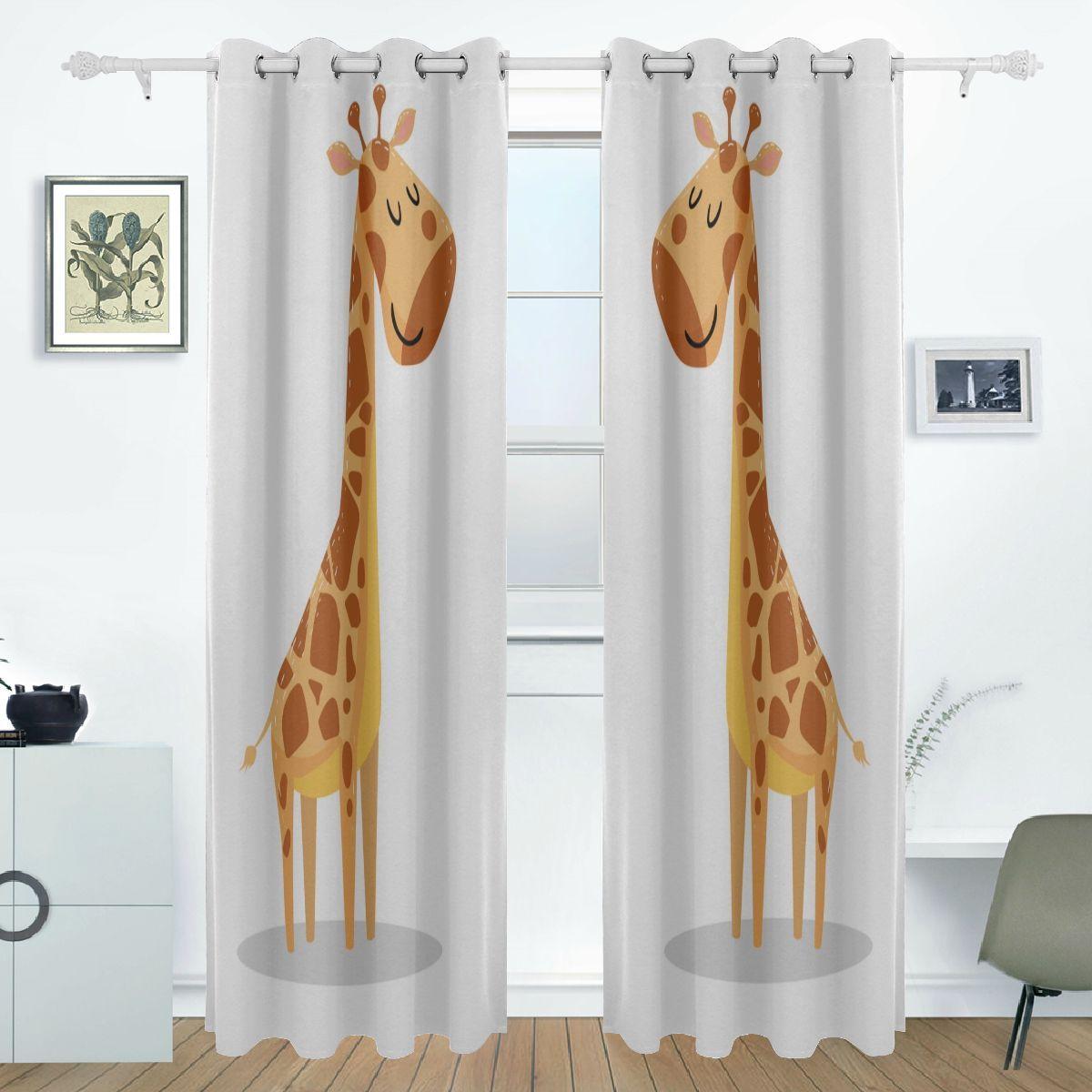 54 Inch Window Curtains Lovely Cute Outdoor Travel Giraffe