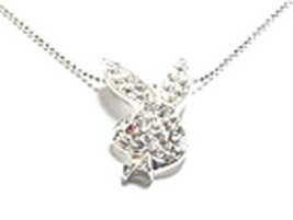 NP42 Sexy Crystal Paved Bunny Pendant Necklace - $7.99