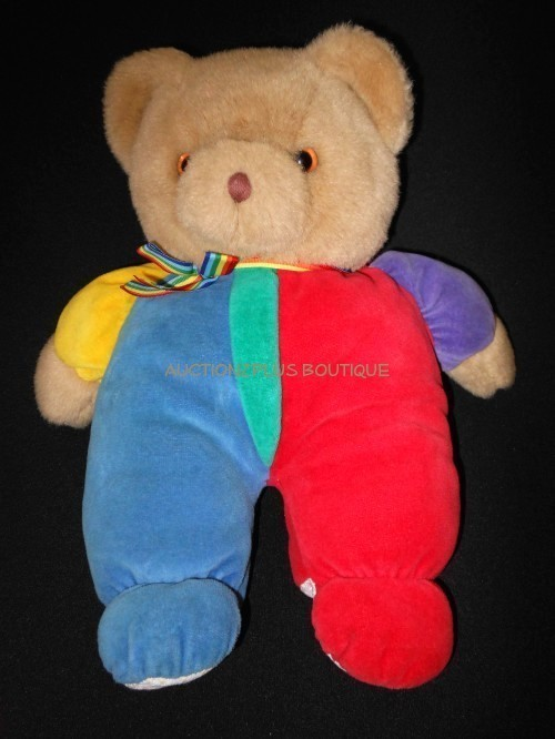 "VINTAGE EDEN TOYS PRIMARY COLORS TEDDY BEAR STUFFED PLUSH 12"" LOVEY"